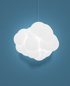 Illuminated electric light with cloud lampshade