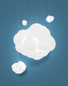 Illuminated electric lights with cloud lampshades