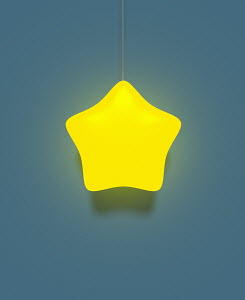 Illuminated electric light with yellow star lampshade
