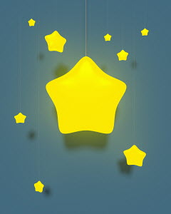 Illuminated electric lights with yellow star lampshades