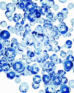 Blue glass bubbles in mid-air