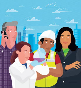Scientist, construction worker, and business people standing together in front of city skyline