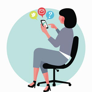 Businesswoman using smart phone for email and online messaging