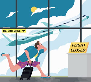 Man running to closed airport departure gate and missing flight