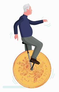 Senior man balancing on one pound coin unicycle