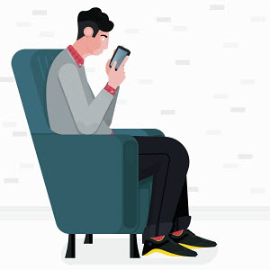 Man sitting in armchair using smart phone