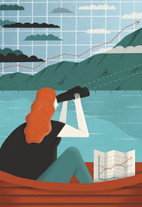 Woman looking though binoculars at graph landscape