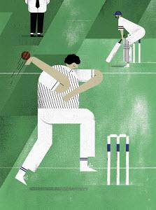 Bowler bowling cricket ball to batsman