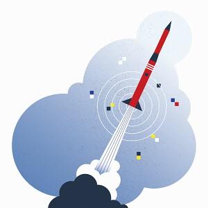 Missile taking off over target