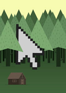 Computer cursor among trees in forest by isolated log cabin