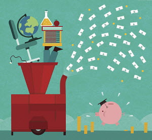 Machine turning education into money for fat graduate piggy bank