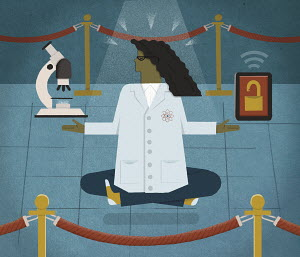 Scientist meditating behind rope barrier holding microscope and padlock on digital tablet