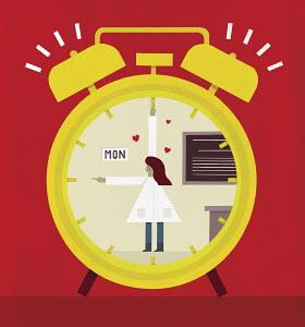 Happy teacher on Monday morning alarm clock