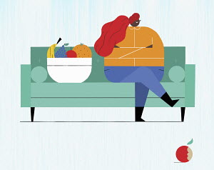 Displeased overweight woman sitting on sofa rejecting fresh fruit