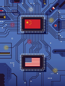 Chinese and American flags connected on circuit board
