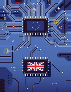 British flag disconnected from European Union flag on circuit board