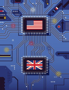 American and British flags connected on circuit board
