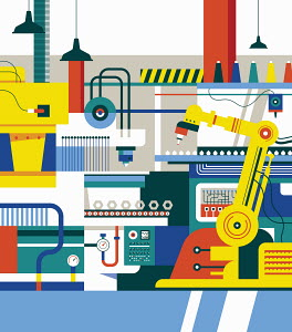 Colorful manufacturing production line
