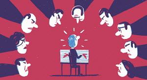 Stressed man being interrogated by hostile committee