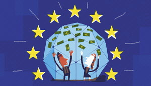Businessman and businesswoman celebrating access to European Union funding