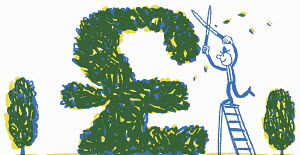 Happy businessman pruning bush into British pound sterling sign
