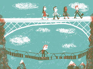 Contrast between confident business people walking across stable bridge and scared man on rickety bridge