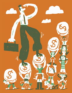 Happy businessman climbing dollar coin staircase supported by people standing on shoulders