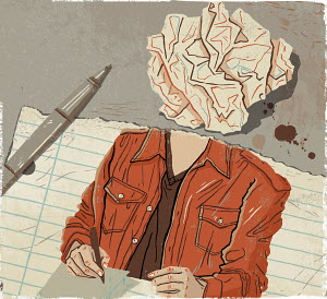 Woman writing with crumpled paper head