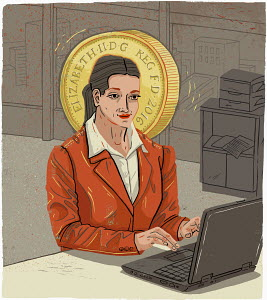Businesswoman working on laptop with British pound coin halo