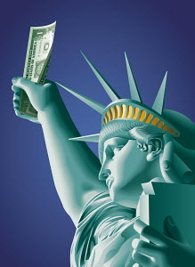 Statue of Liberty holding one dollar bill in raised arm