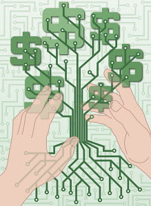 Dollar signs on circuit board money tree
