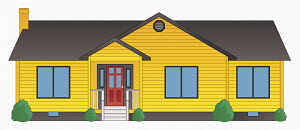 Bright yellow clapboard bungalow