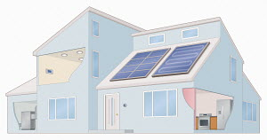 Modern house using solar panels for electricity and hot water