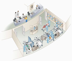 High angle view of hospital intensive care unit