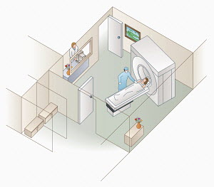 High angle view of patient and hospital MRI scanner
