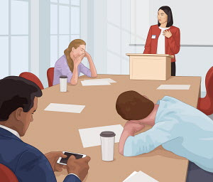 Boring speaker at business meeting