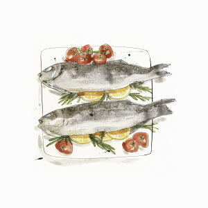 Baked sea bass fish with tomatoes, lemon and rosemary