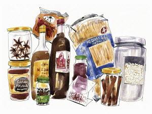 Variety of spicy pantry food