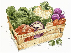 Wooden box of fresh vegetables