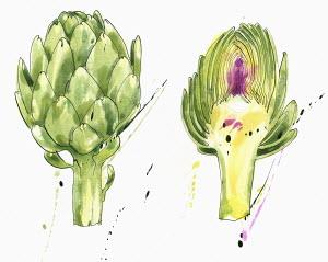 Whole and half artichokes