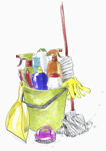 Cleaning products and equipment in plastic bucket
