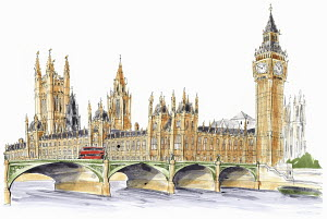Big Ben, the Houses of Parliament and Westminster Bridge, London, England