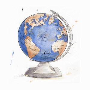 Atlantic Ocean on world globe
