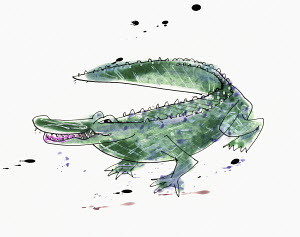 Watercolor painting of crocodile