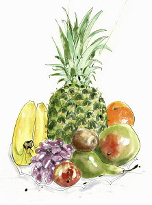 Watercolor painting of pile of fresh fruit