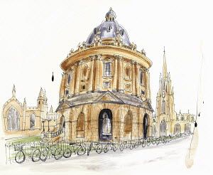 Watercolor painting of Radcliffe Camera in Oxford