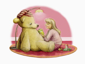 Girl reading bedtime story to large teddy bear