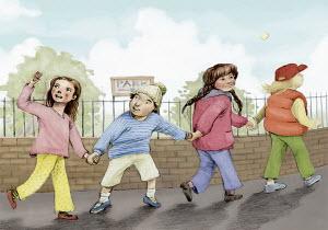 Children holding hands walking to park