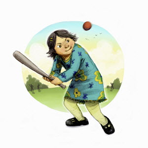 Girl concentrating on hitting ball with rounders bat
