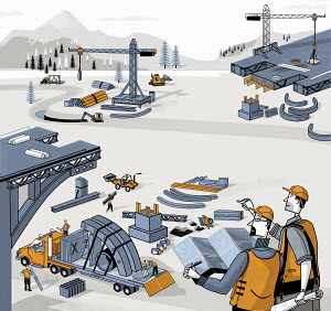 Engineers watching construction workers building bridge